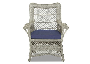 Willow Blue Fabric Wicker Chair