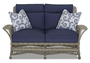 Willow Blue Fabric Wicker Loveseat