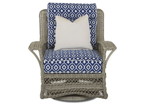 Willow Quatrefoil Royalty Fabric Swivel Wicker Chair