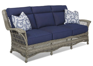 Willow Blue Fabric Wicker Sofa