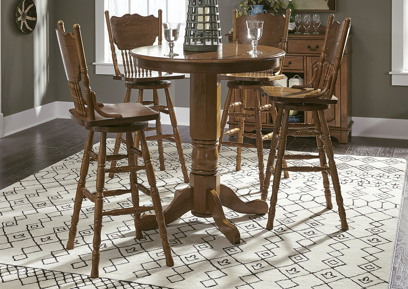 Nostalgia Round Pub Table w/4 Press Back Barstools,Liberty