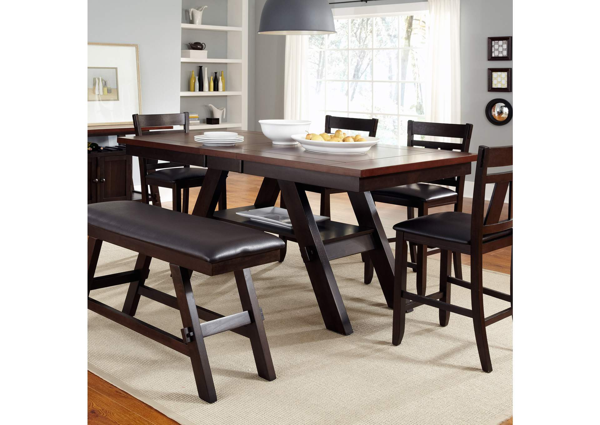 Lawson Gathering Table w/Bench and 4 Splat Back Counter Chairs,Liberty
