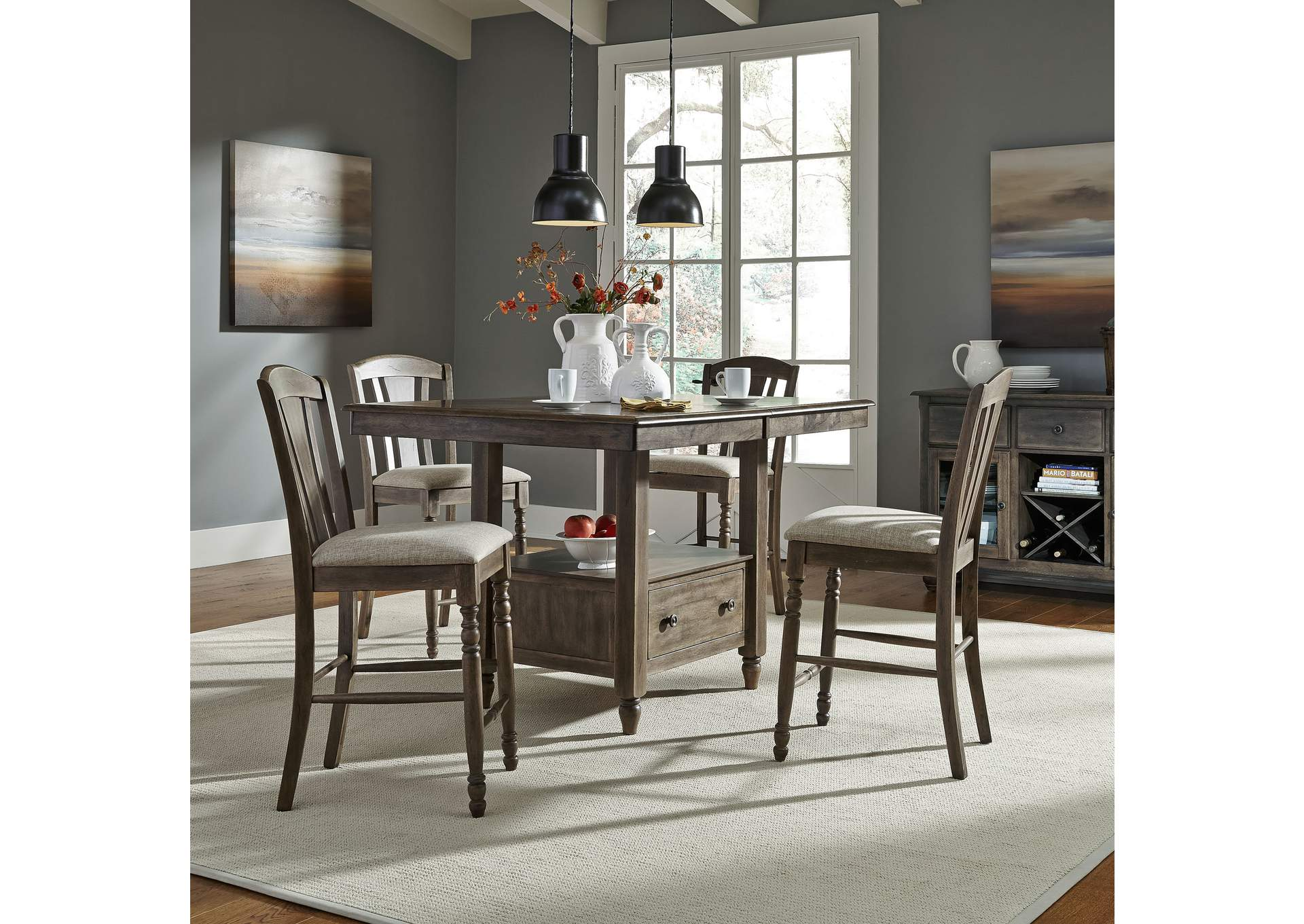 Candlewood Center Island w/4 Slat Back Barstools,Liberty
