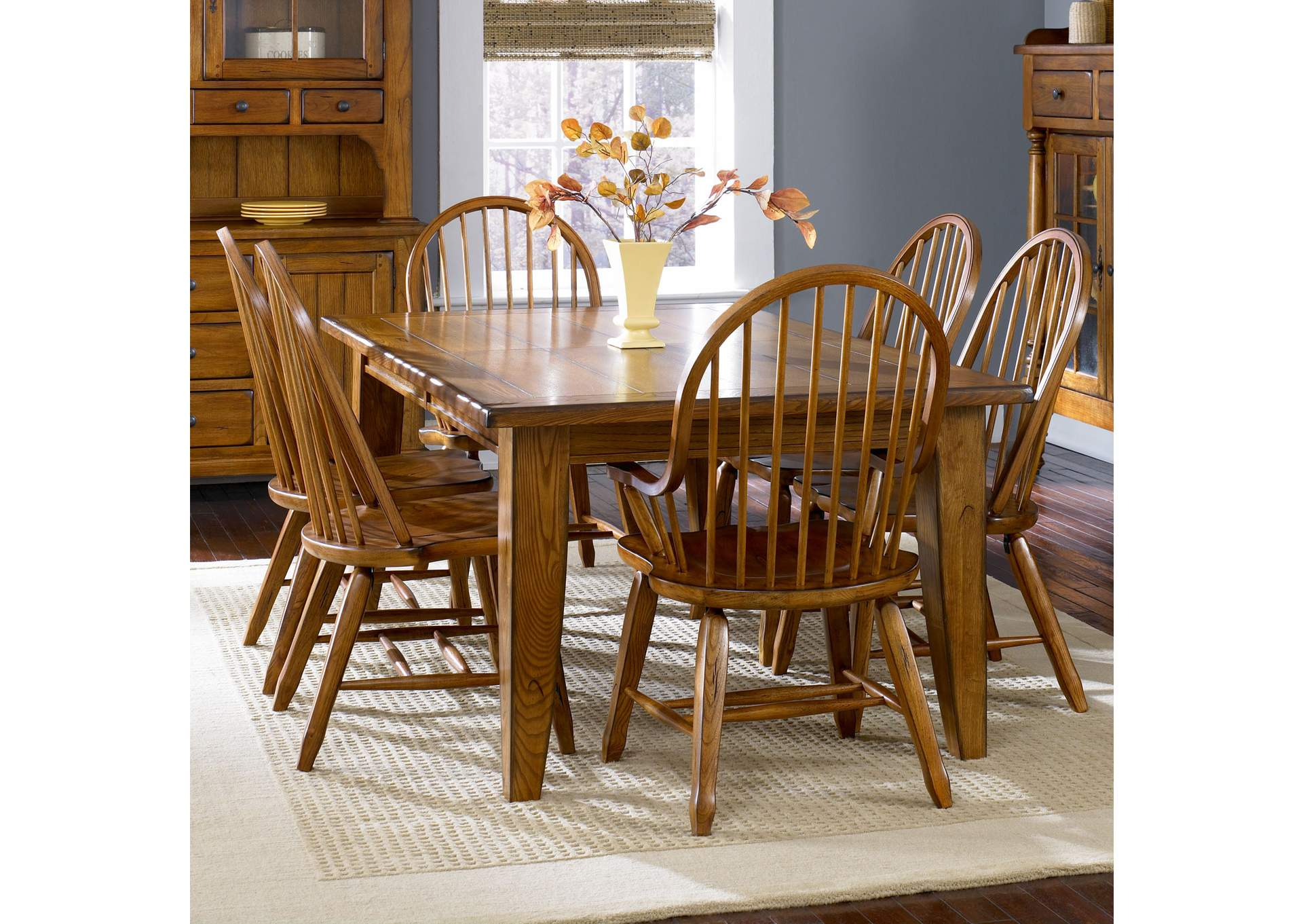 Treasures Oak Rectangular Leg Table w/2 Bow Back Arm Chairs and 4 Bow Back Side Chairs,Liberty