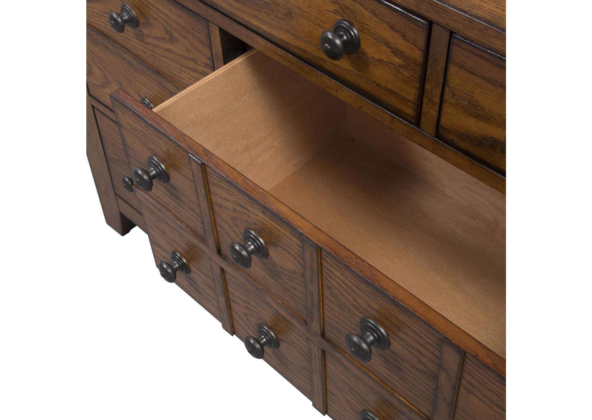 Grandpas Cabin Aged Oak 7 Drawer Dresser,Liberty