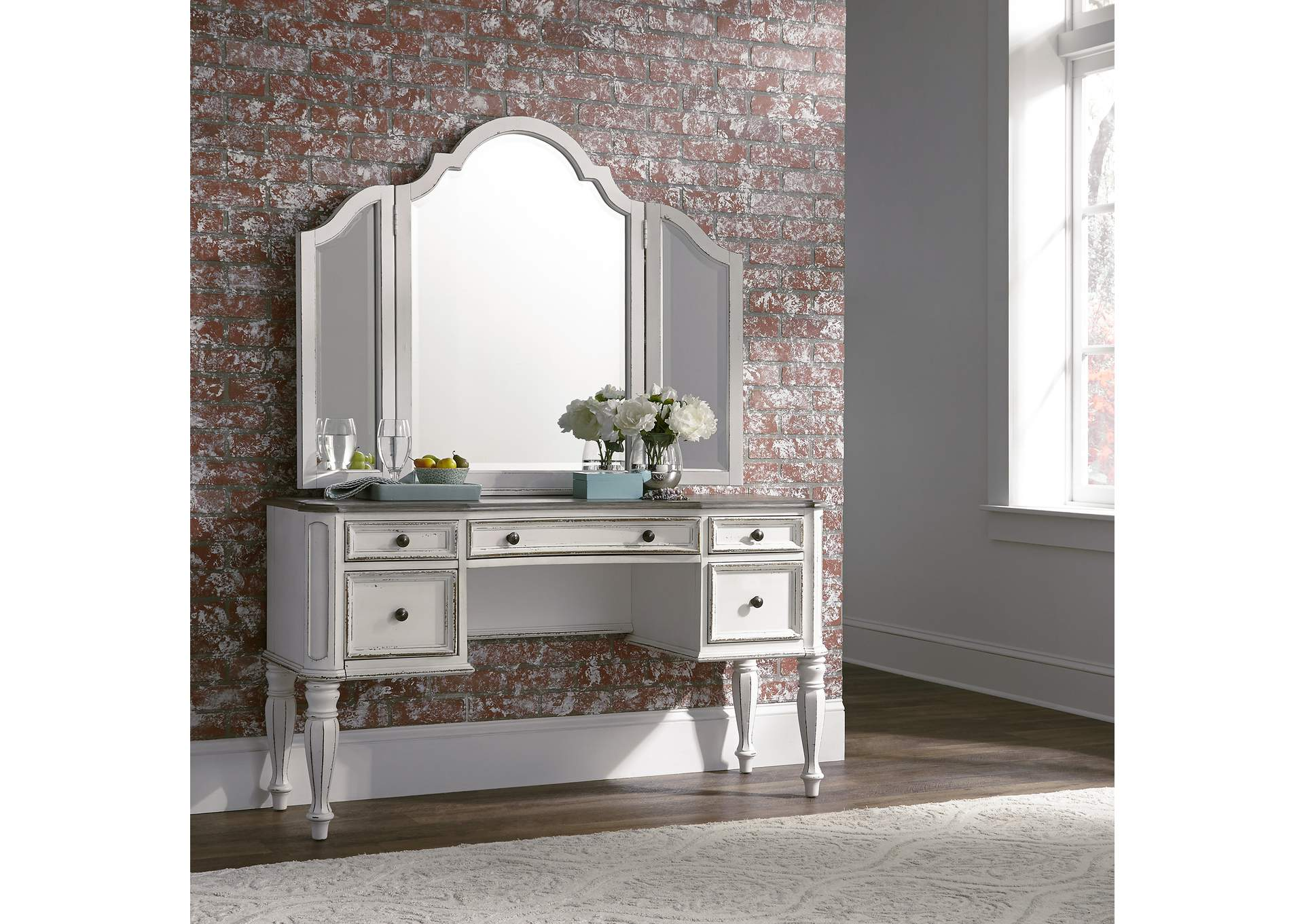 Magnolia Manor Antique White Vanity Set,Liberty