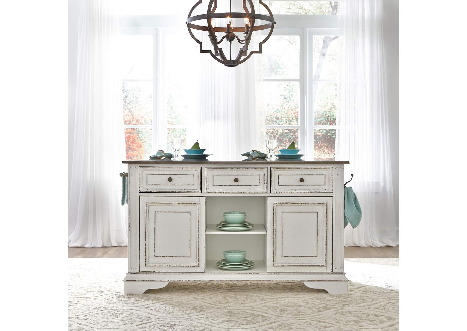 V. Watts Furniture Magnolia Manor White Kitchen Island with ...