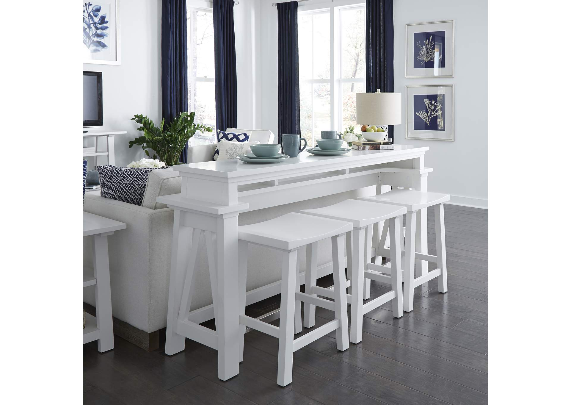 Summer House White Console Bar Table,Liberty