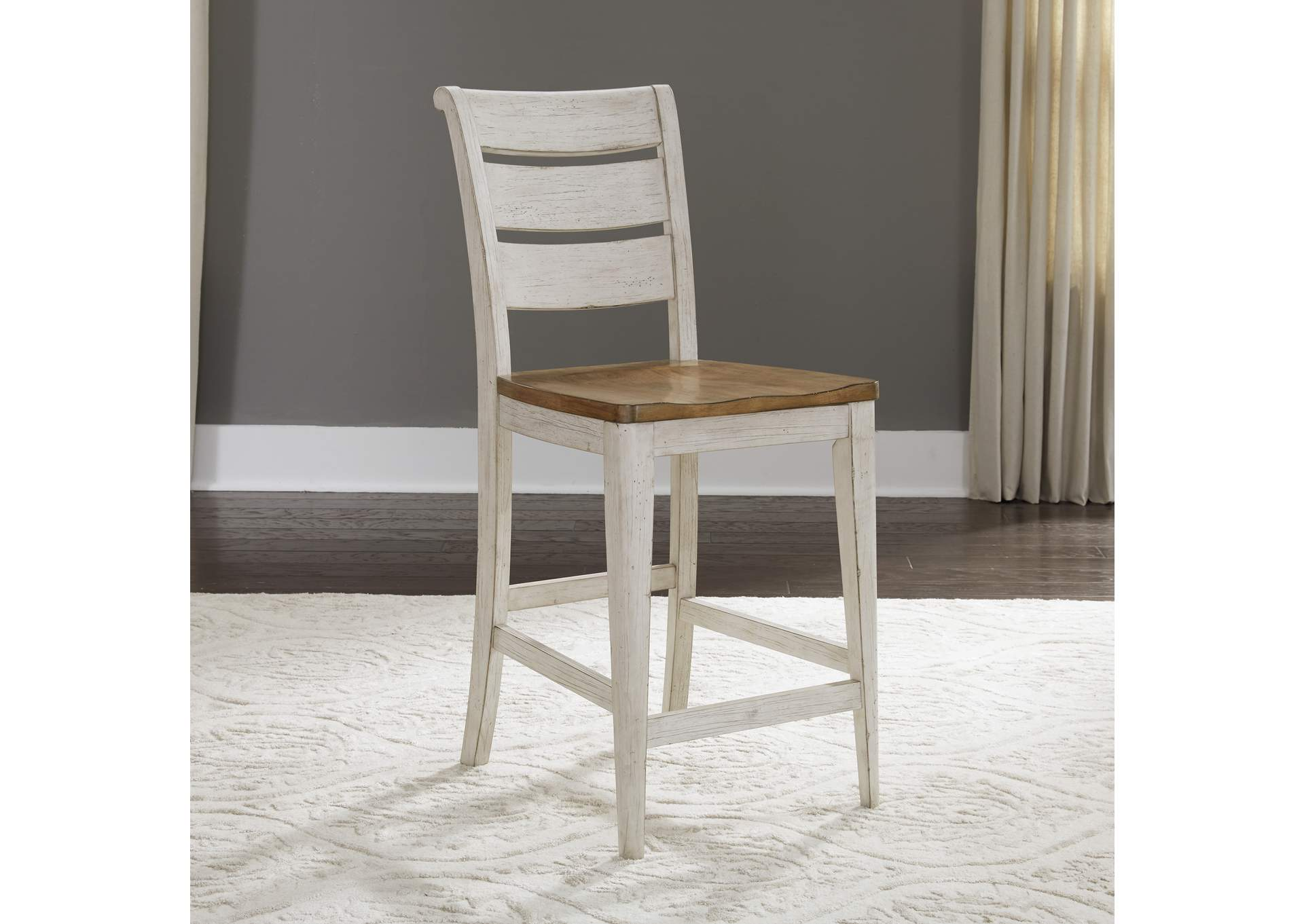 Farmhouse Reimagined White/Brown Ladder Back Counter Chair (RTA),Liberty