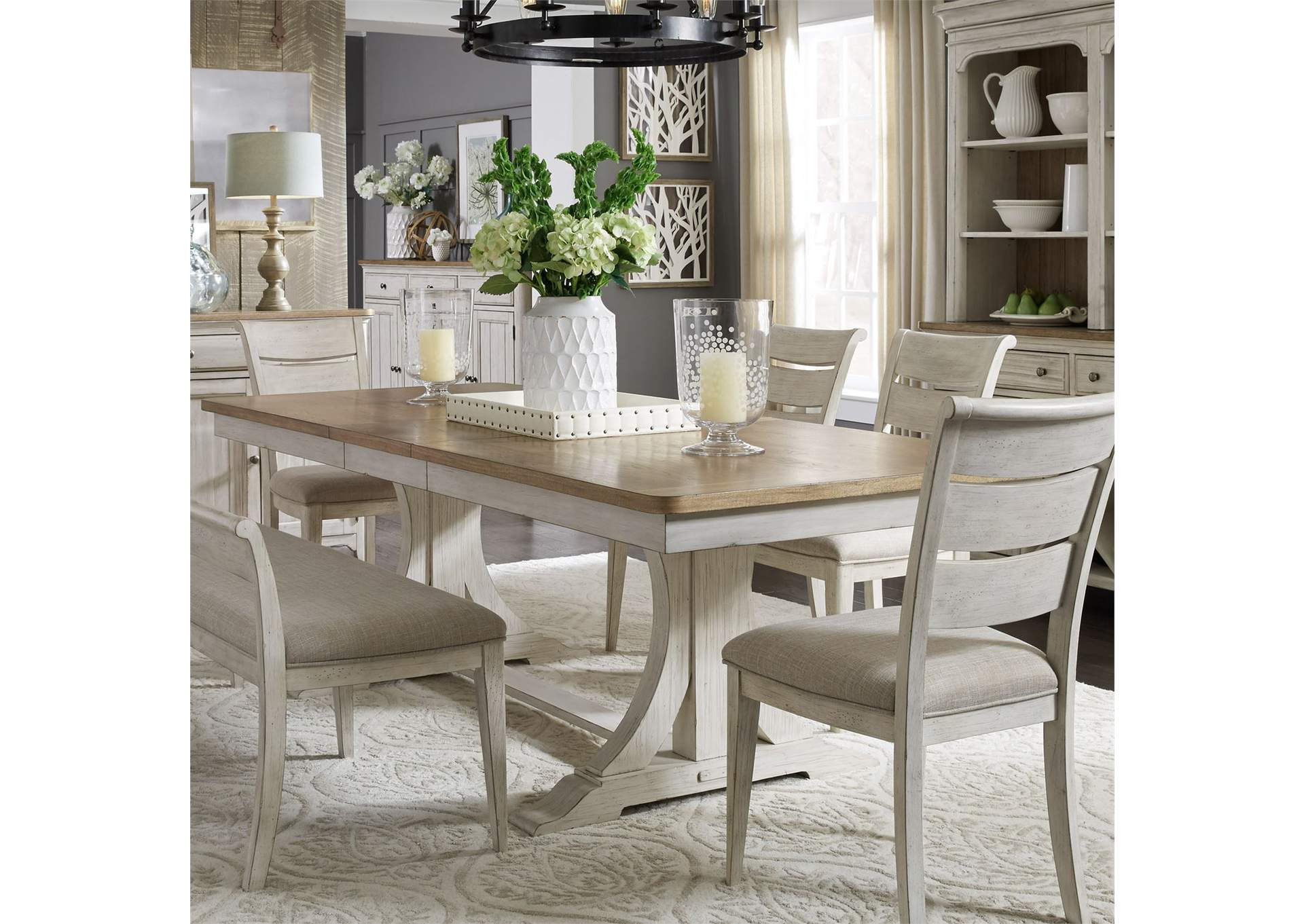 V. Watts Furniture Farmhouse Reimagined White/Brown ...