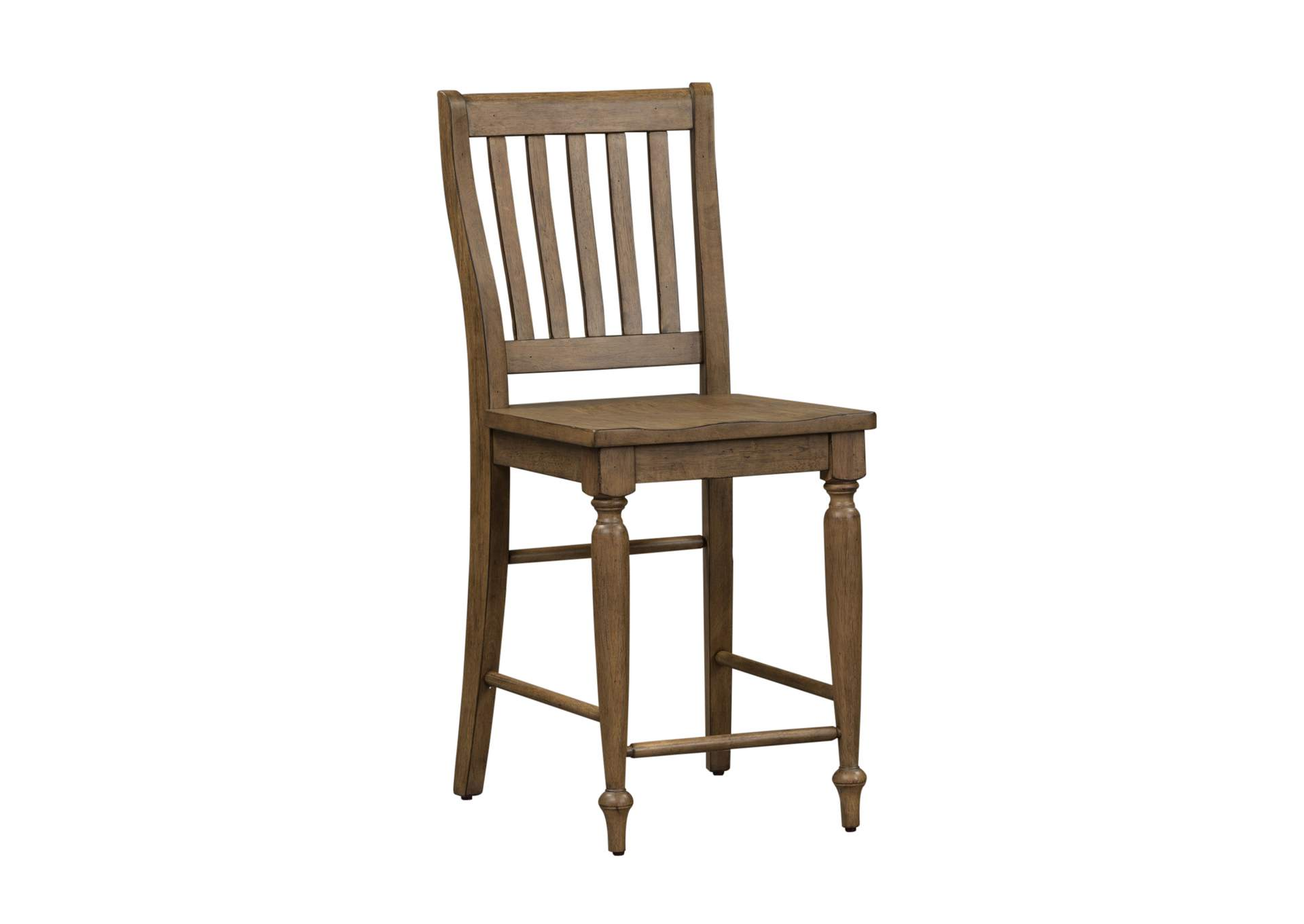 Harvest Home Brown Slat Back Counter Chair (RTA),Liberty