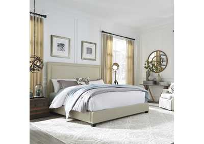 Image for Upholstered King Nail Head Panel Bed