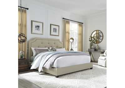 Upholstered Queen Sloped Panel Bed
