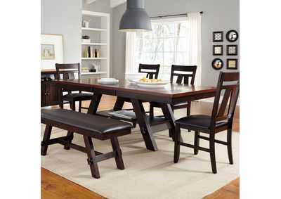 Lawson Pedestal Table w/Bench and 4 Splat Back Side Chairs