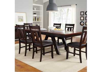 Lawson Pedestal Table w/6 Splat Back Side Chairs