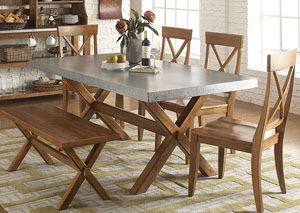Keaton Trestle Table w/Bench and 4 X Back Side Chairs