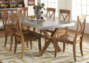 Keaton Trestle Table w/6 X Back Side Chairs