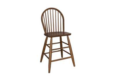 Farmhouse Weathered Oak Windsor Back Counter Chair
