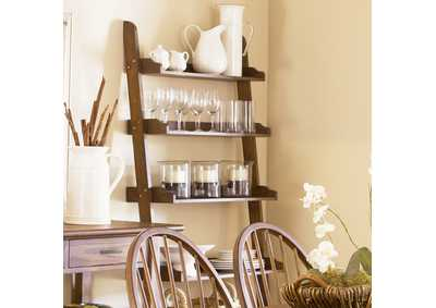 Farmhouse Weathered Oak Leaning Bookcase