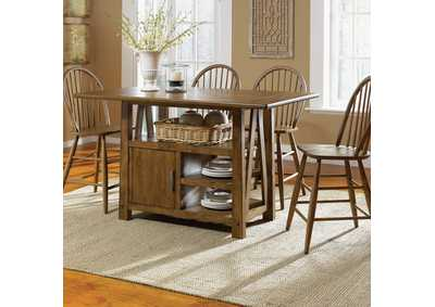 Image for Farmhouse Center Island Table w/4 Windsor Back Counter Chair
