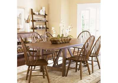Image for Farmhouse Trestle Table w/2 Windsor Back Arm Chairs and 4 Windsor Back Side Chairs