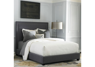 Upholstered King Nail Head Panel Bed