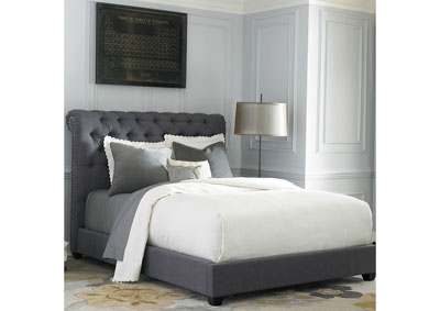 Upholstered Queen Chesterfield Sleigh Bed