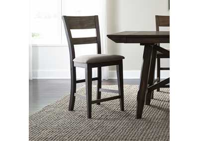 Double Bridge Dark Chestnut Splat Back Counter Chair (RTA)