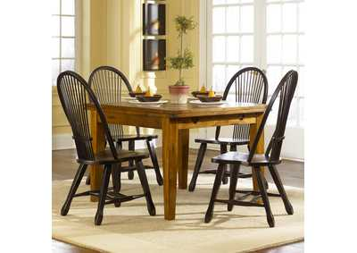 Image for Treasures Oak Retractable Leg Table w/4 Sheaf Back Side Chairs