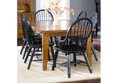 Treasures Oak Rectangular Leg Table w/2 Black Bow Back Arm Chairs and 4 Black Bow Back Side Chairs