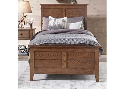 Image for Grandpas Cabin Aged Oak Twin Panel Bed