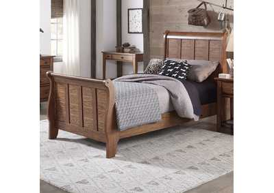 Image for Grandpas Cabin Aged Oak Twin Sleigh Bed