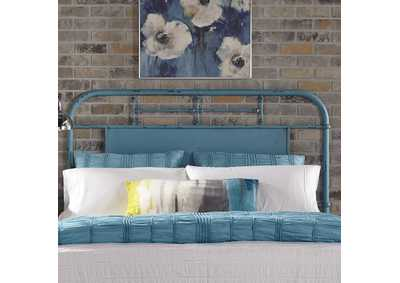 Image for Vintage Series Black King Metal Headboard - Blue