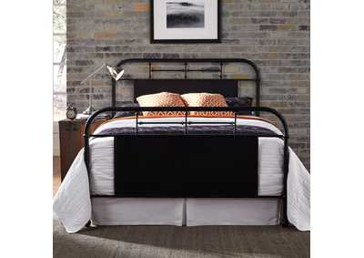 Image for Vintage Series Blue King Metal Bed - Black