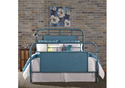 Image for Vintage Series Black King Metal Bed - Blue