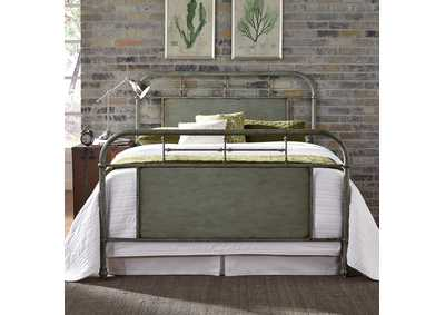 Image for Vintage Series Grey King Metal Bed - Green
