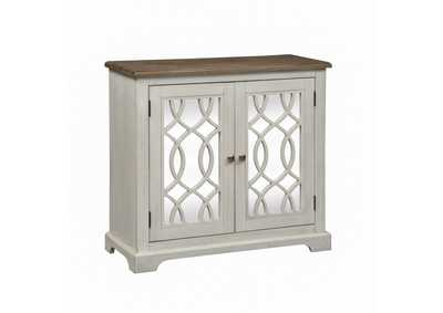 Emory Antique White 2 Door Mirrored Accent Cabinet