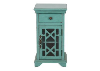 Ashvale Turquoise 1 Drawer 1 Door Accent Cabinet