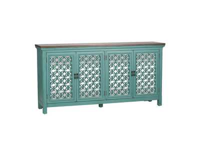 Kensington Turquoise 4 Door Accent Cabinet