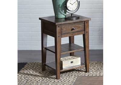 Lake House Brown Oak Chair Side Table