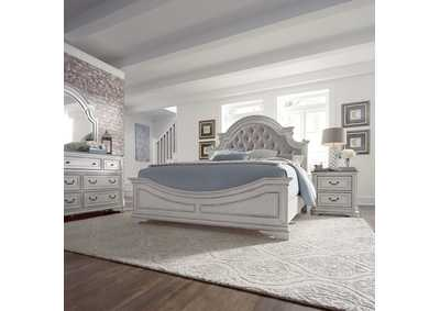 Magnolia Manor Antique White King Upholstered Bed, Dresser & Mirror, NS