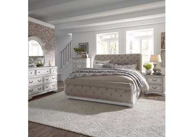 Magnolia Manor Antique White King Upholstered Sleigh Bed, Dresser & Mirror, Chest, NS