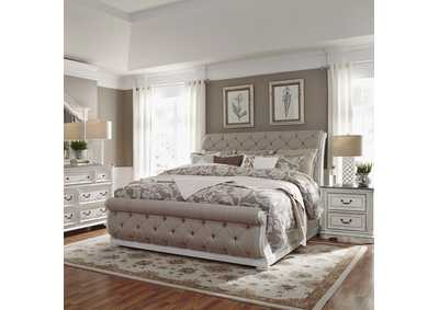 Magnolia Manor Antique White King Upholstered Sleigh Bed, Dresser & Mirror, NS