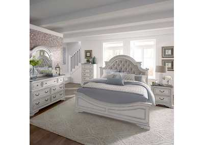 Magnolia Manor Antique White Queen Upholstered Bed, Dresser & Mirror, Chest, NS