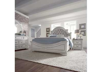 Magnolia Manor Antique White Queen Upholstered Bed, Dresser & Mirror, NS