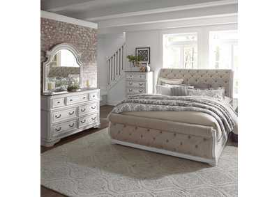 Magnolia Manor Antique White Queen Upholstered Sleigh Bed, Dresser & Mirror, Chest