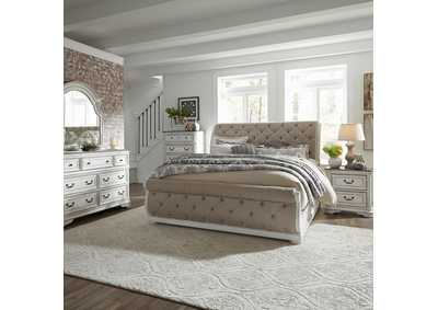 Magnolia Manor Antique White Queen Upholstered Sleigh Bed, Dresser & Mirror, Chest, NS