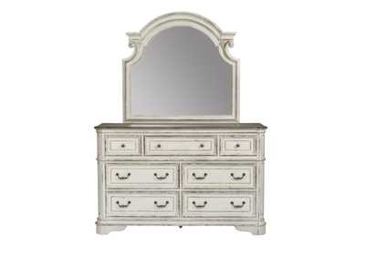 Magnolia Manor Antique White 7 Drawer Dresser and Mirror