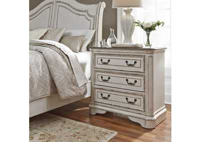 Magnolia Manor Antique White 3 Drawer Bedside Chest w/ Charging Station