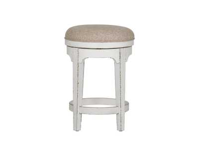 Magnolia Manor White Console Swivel Stool
